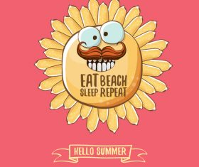 Eat sleep beach summer poster template vector 13