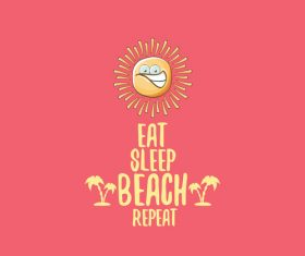 Eat sleep beach summer poster template vector 14
