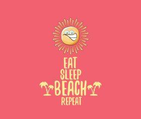 Eat sleep beach summer poster template vector 14