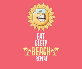 Eat sleep beach summer poster template vector 15