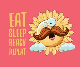 Eat sleep beach summer poster template vector 16