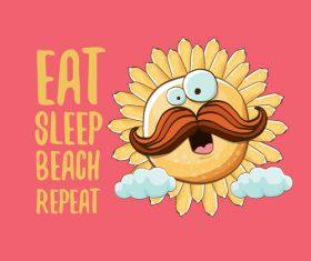 Eat sleep beach summer poster template vector 16
