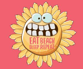 Eat sleep beach summer poster template vector 17
