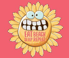 Eat sleep beach summer poster template vector 17