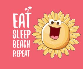 Eat sleep beach summer poster template vector 18