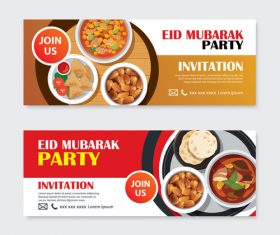 Eid mubarak invitation card template vector 02