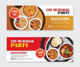 Eid mubarak invitation card template vector 02