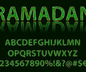 Emerald alphabet and number vector