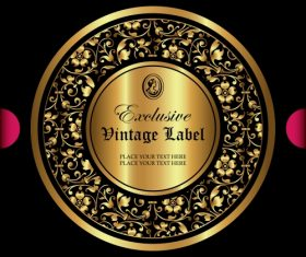 Exclusive vintage gold ornamental label vector 01