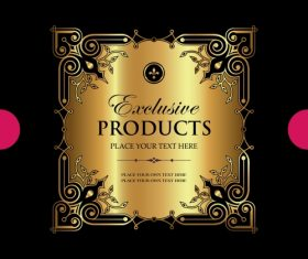 Exclusive vintage gold ornamental label vector 02
