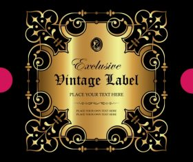 Exclusive vintage gold ornamental label vector 03