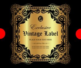 Exclusive vintage gold ornamental label vector 04