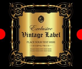 Exclusive vintage gold ornamental label vector 05