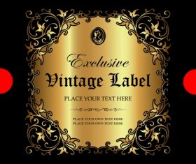 Exclusive vintage gold ornamental label vector 07