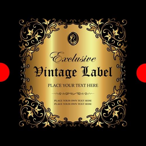 Exclusive vintage gold ornamental label vector 07