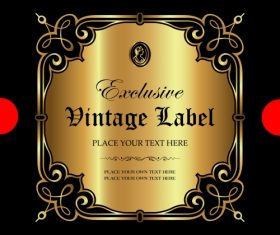 Exclusive vintage gold ornamental label vector 08