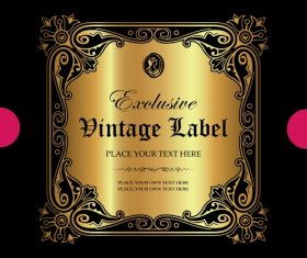 Exclusive vintage gold ornamental label vector 09