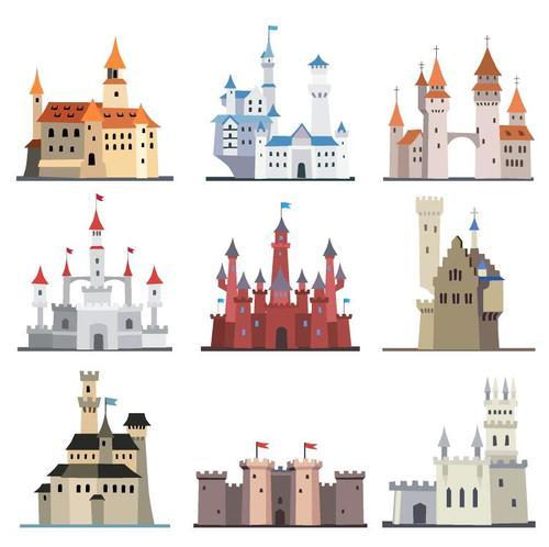Fairy tale castle illustration vector 01
