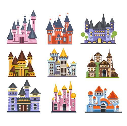 Fairy tale castle illustration vector 03