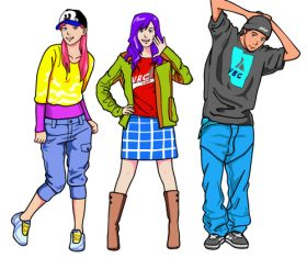 Fashion character design cartoon vector