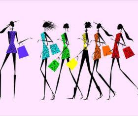 Fashion dress female model linear draft vector