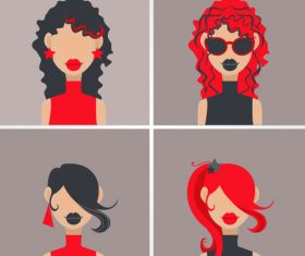 Fashion girl head portrait vector