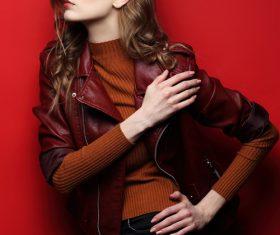 Fashion girl taking cover photo in studio Stock Photo 03