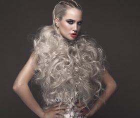 Fashion glamour girl with avant garde hairstyle Stock Photo 01