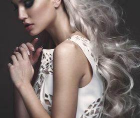 Fashion glamour girl with avant garde hairstyle Stock Photo 03