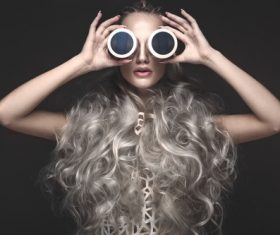 Fashion glamour girl with avant garde hairstyle Stock Photo 04