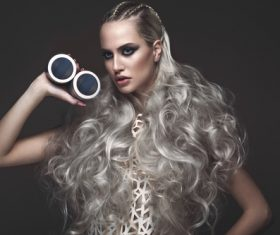 Fashion glamour girl with avant garde hairstyle Stock Photo 07