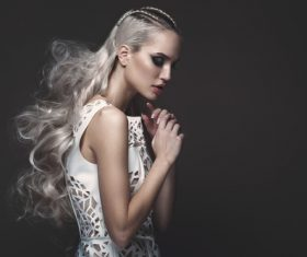 Fashion glamour girl with avant garde hairstyle Stock Photo 08