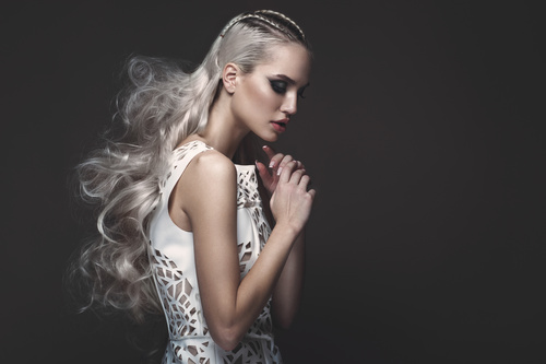 Hair Style Upload Photo: Fashion Glamour Girl With Avant Garde Hairstyle Stock