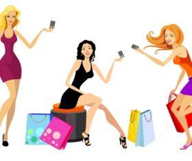 Fashion shopping girls illustration vector 01