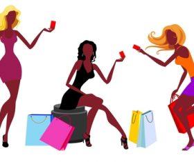 Fashion shopping girls illustration vector 02