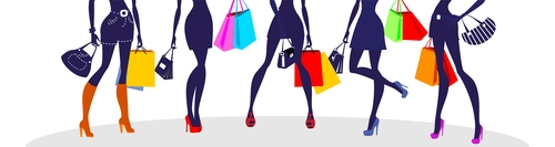 Fashion shopping girls illustration vector 03