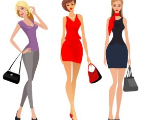 Fashion shopping girls illustration vector 05