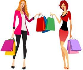 Fashion shopping girls illustration vector 06