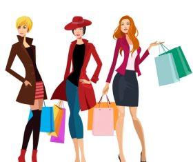 Fashion shopping girls illustration vector 08