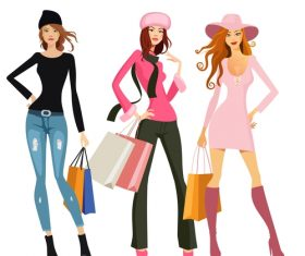 Fashion shopping girls illustration vector 09
