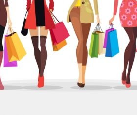 Fashion shopping girls illustration vector 10