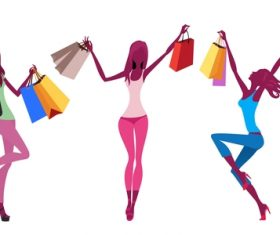 Fashion shopping girls illustration vector 11