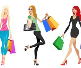Fashion shopping girls illustration vector 12