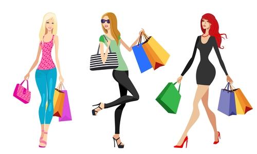 Fashion shopping girls illustration vector 12