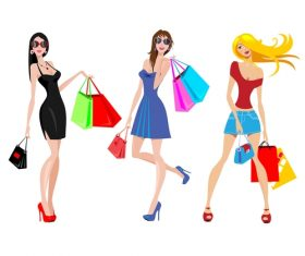 Fashion shopping girls illustration vector 13