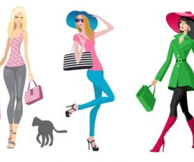 Fashion shopping girls illustration vector 14