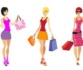 Fashion shopping girls illustration vector 15