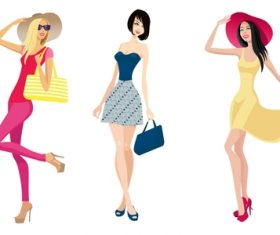 Fashion shopping girls illustration vector 16