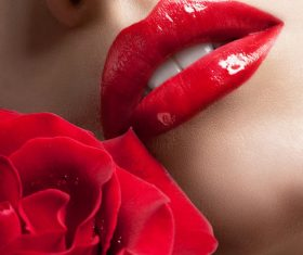 Female lips closeup Stock Photo 01