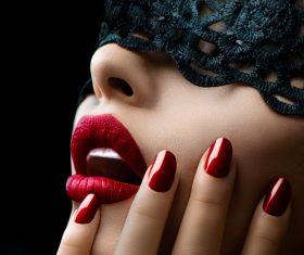 Female lips closeup Stock Photo 05
